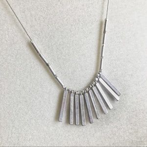 Long ModCloth silver necklace — perfect for fall